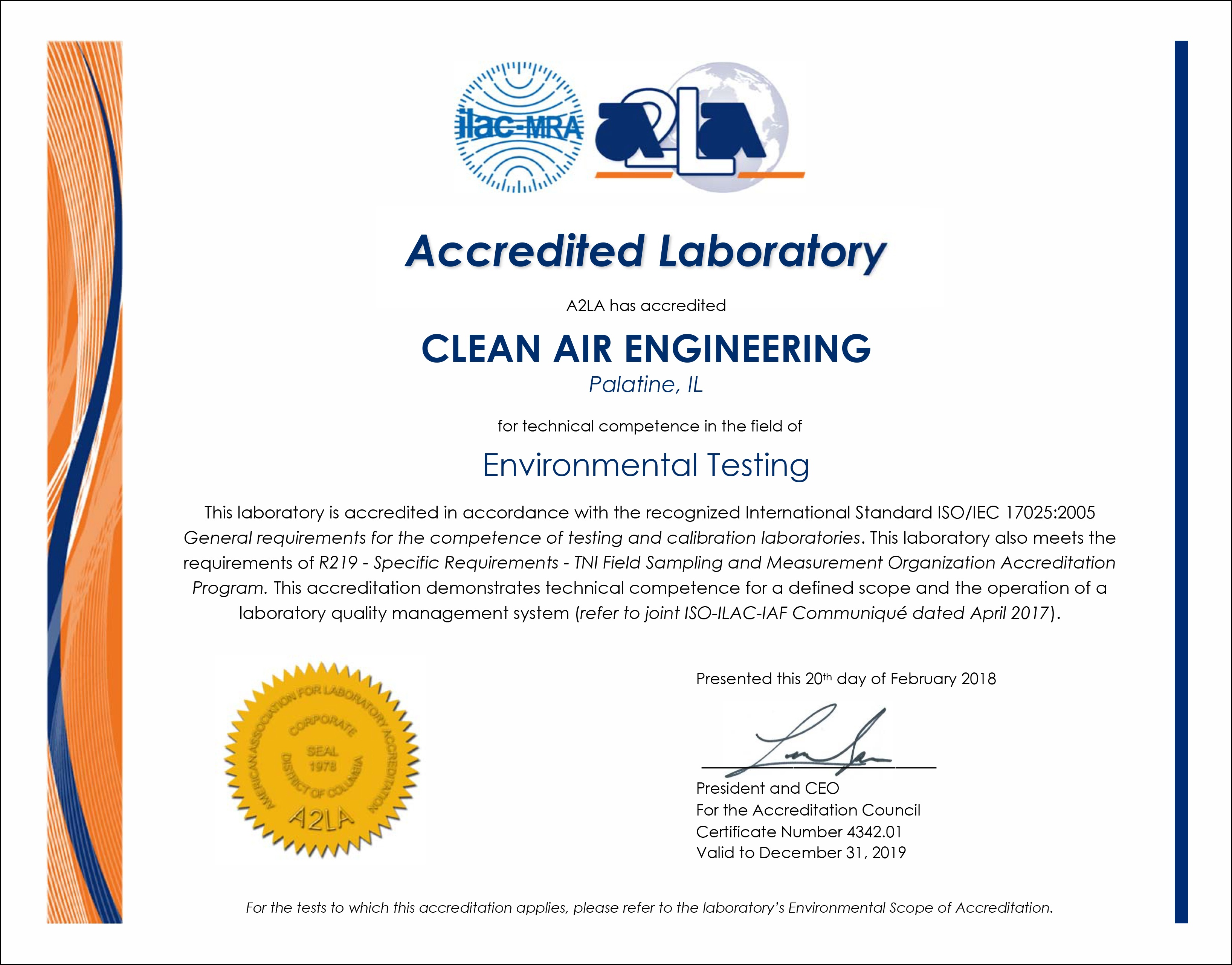 Clean Air Engineering Is Now ISO 17025Accredited